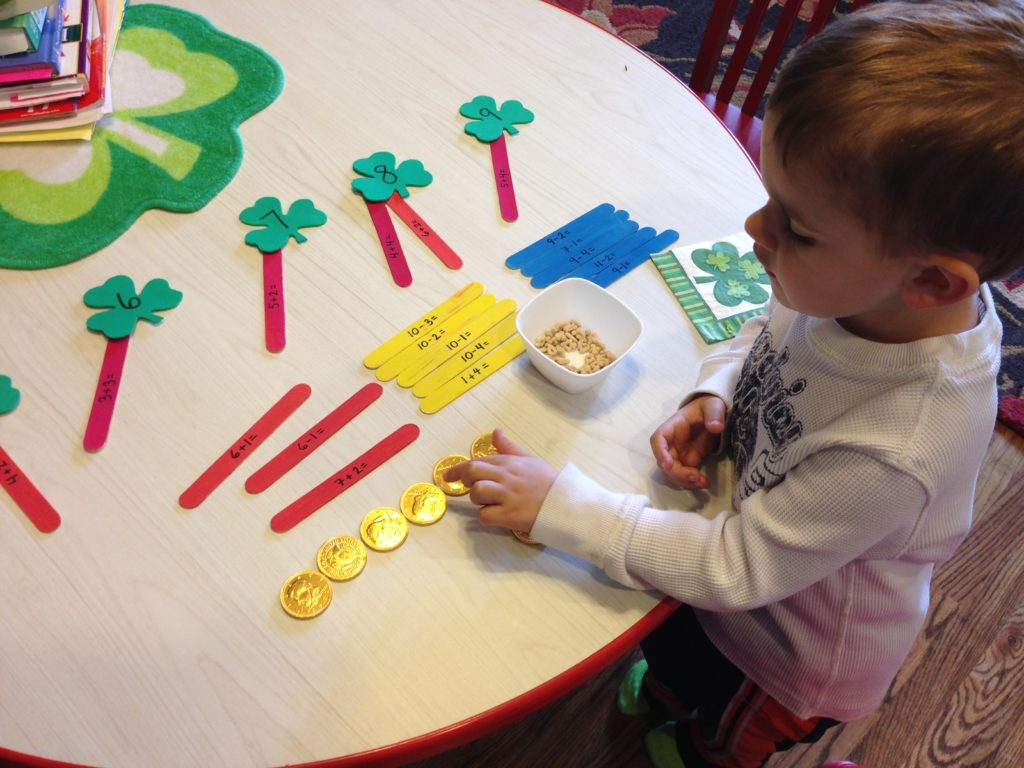 St Patrick Day Activities: shamrock maths