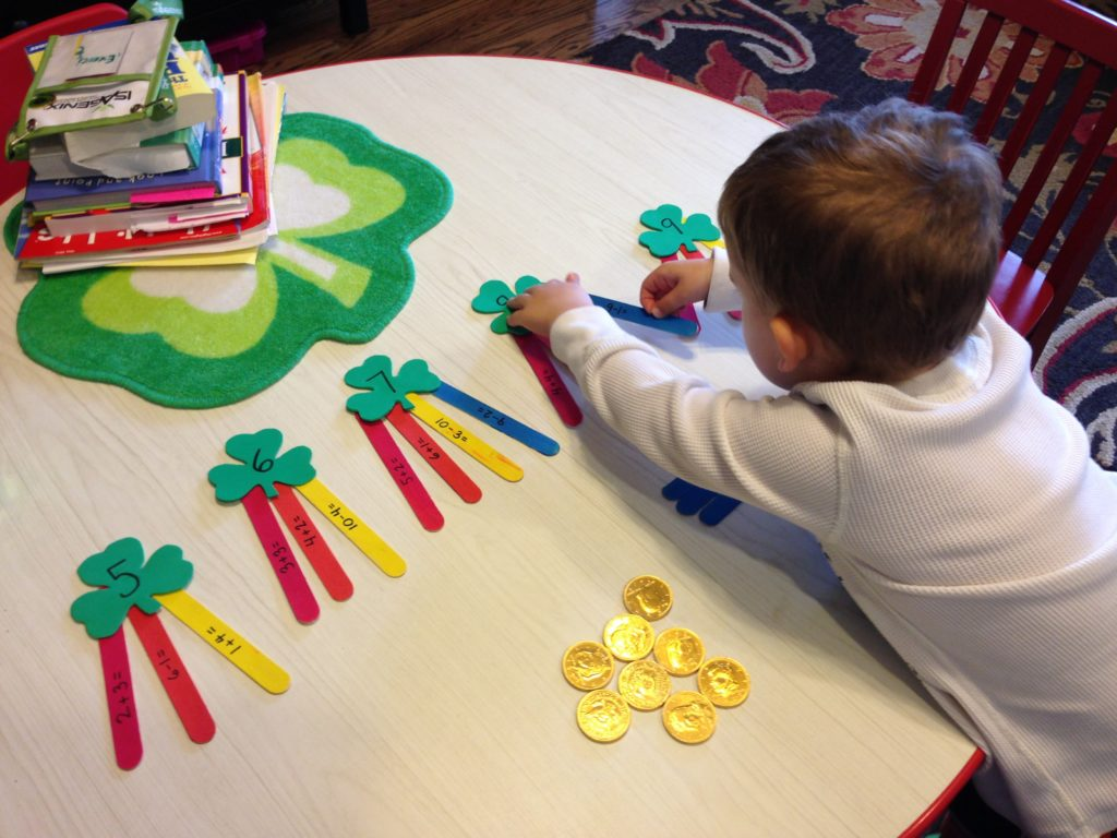 St Patrick Day Activities: shamrock math