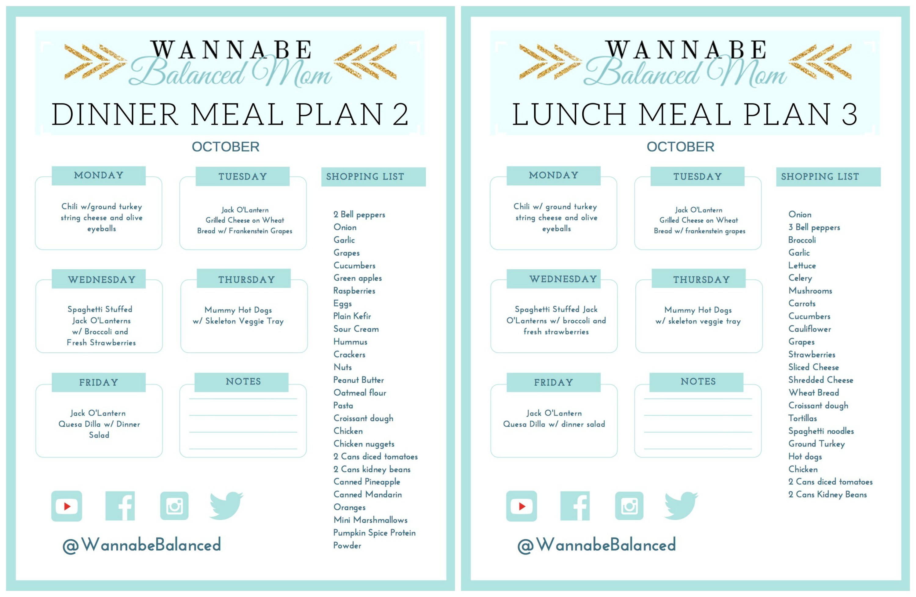 Dinners AND Lunches I Have These Printables Available In My Free Resource Library Plus Made A YouTube Video For The And One